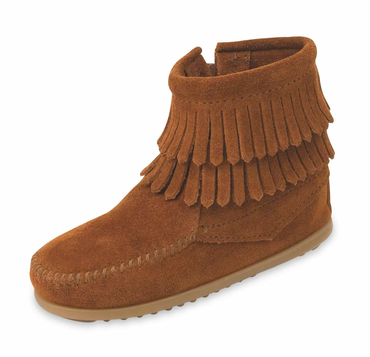 Kids BROWN double fringe zip moc