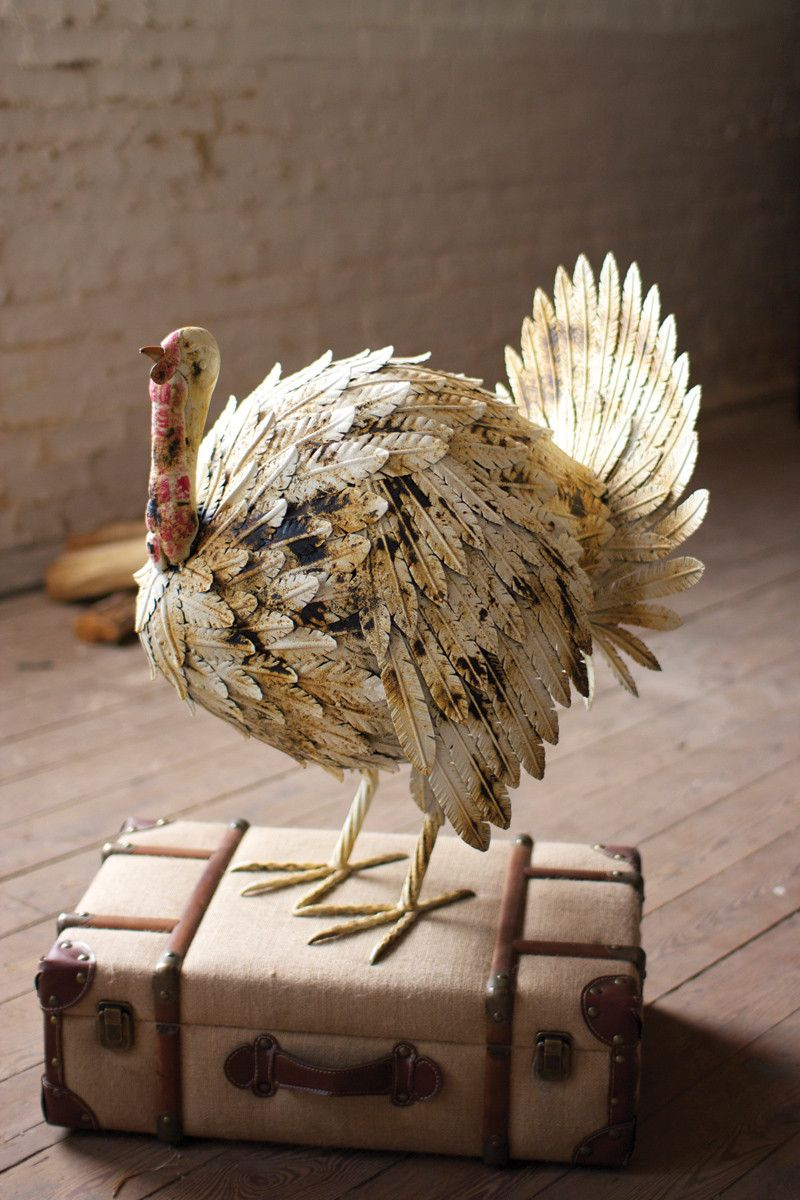 painted metal turkey