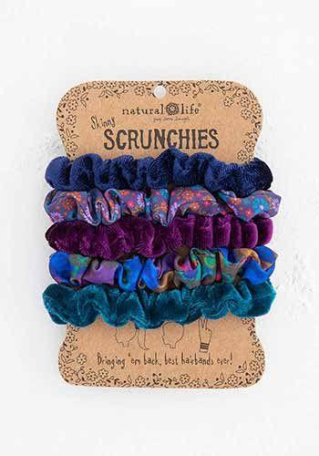 Dark Blue Mixed Scrunchie Set