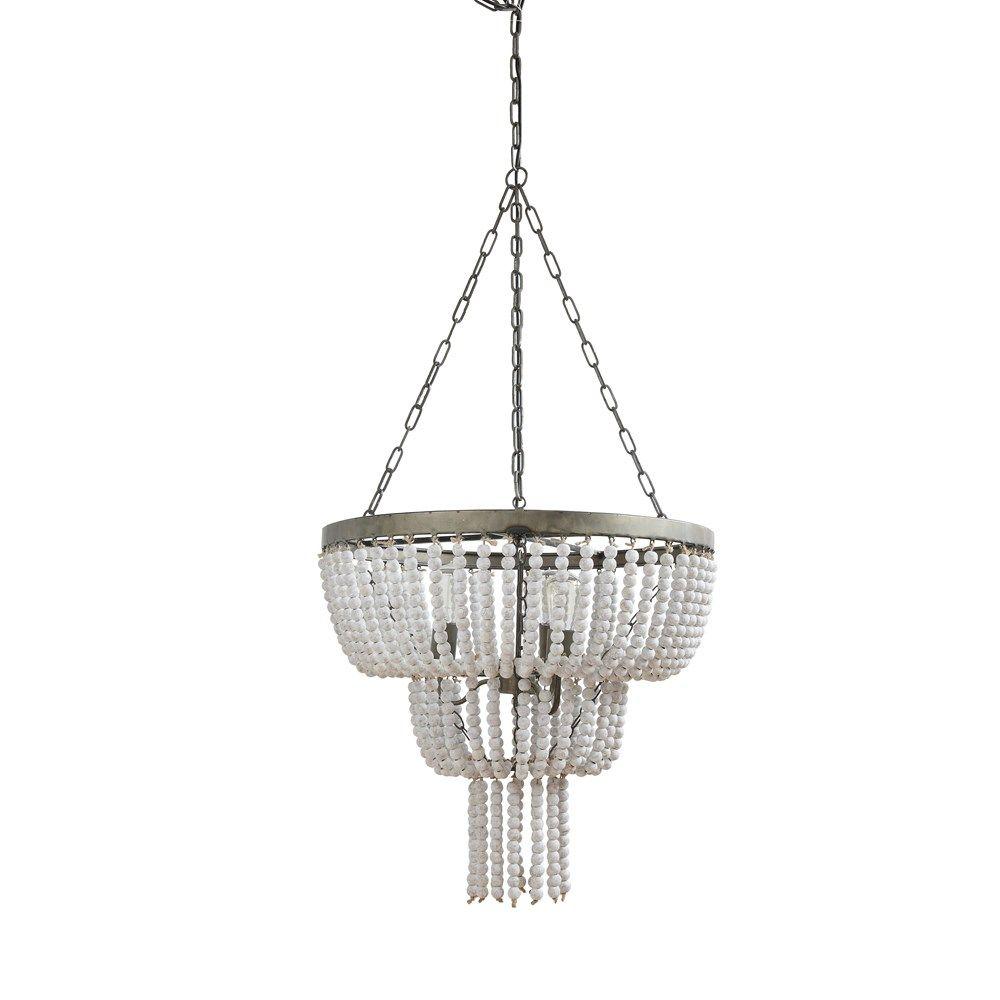 white-washed driftwood pendant lamp