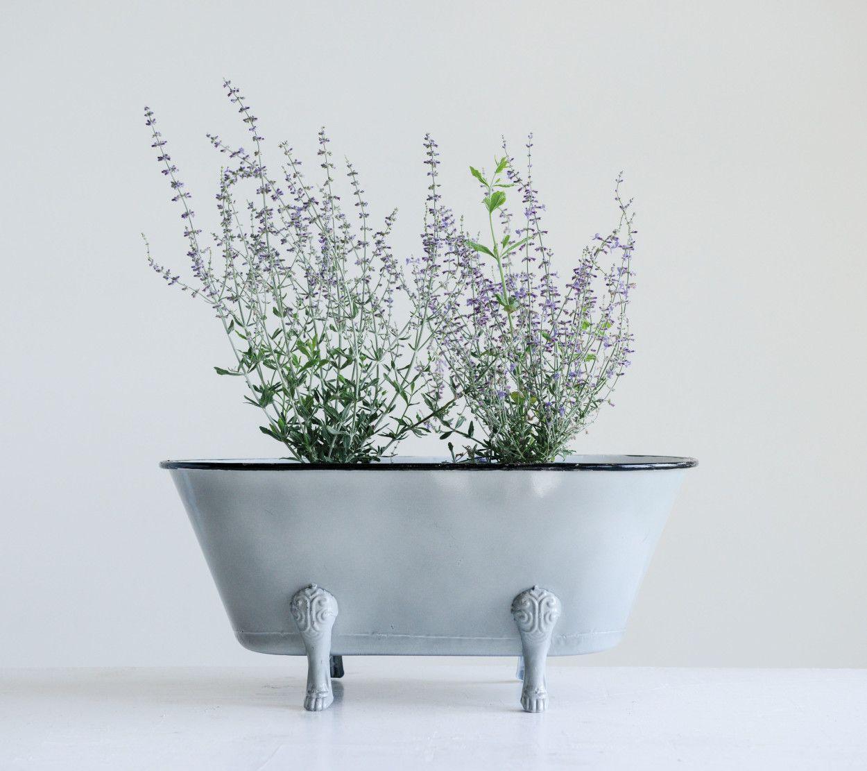 decorative grey metal bathtub