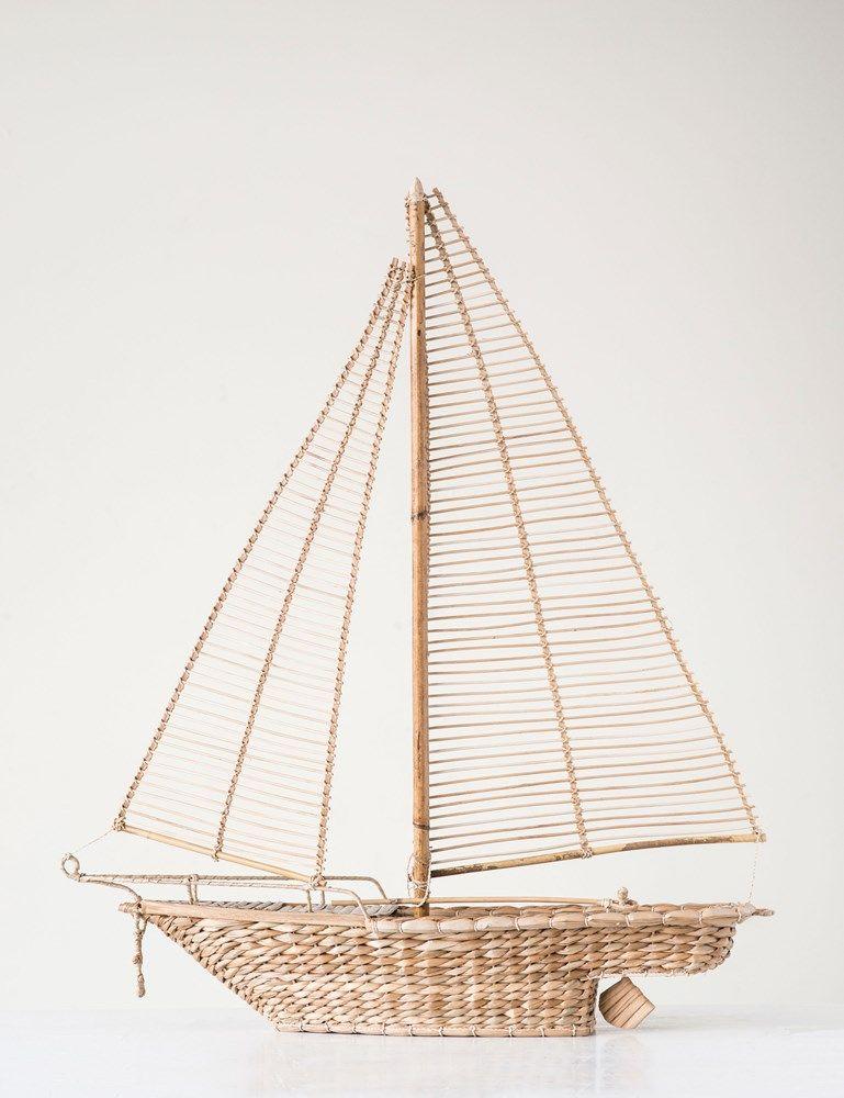 hand woven rattan sailboat