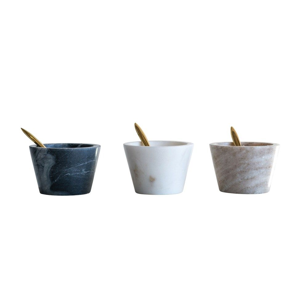 marble bowl with brass spoon