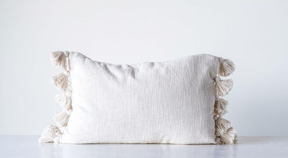 Cream Cotton Woven Slub Pillow with Plush Tassels