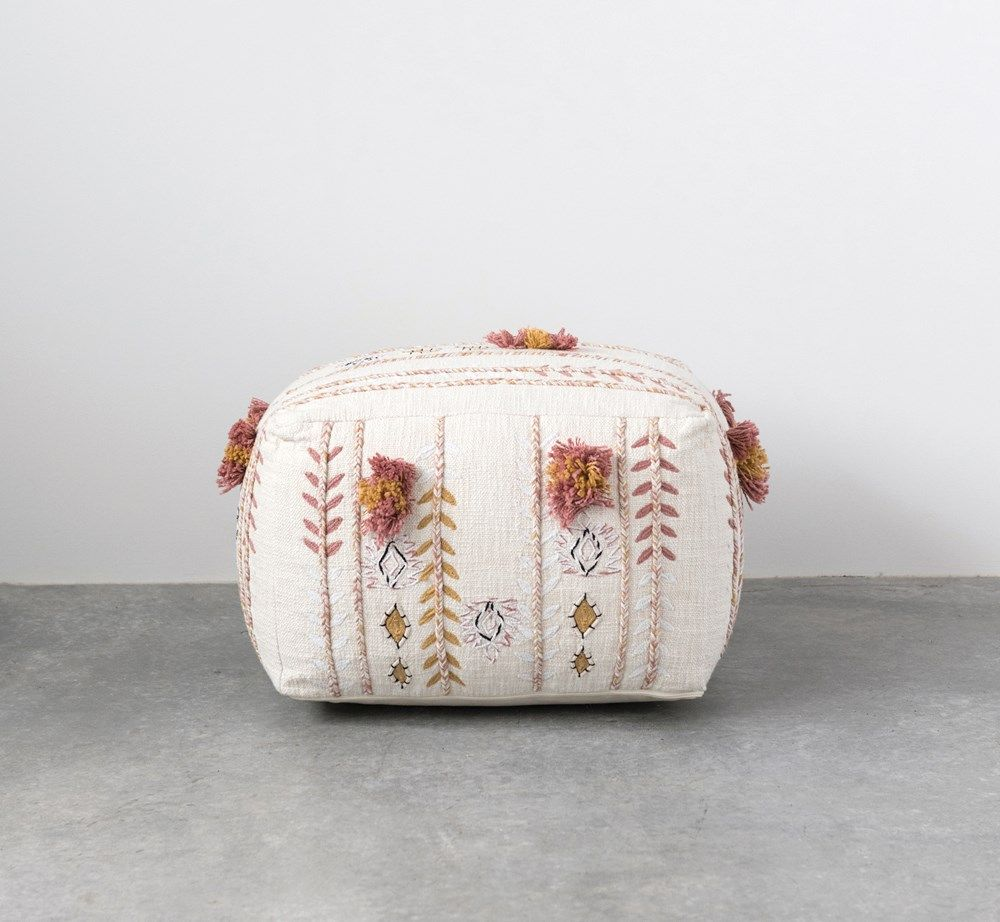 Square Cream Cotton Pouf with Misty Rose & Mustard Yellow Embroidery and Pom Poms