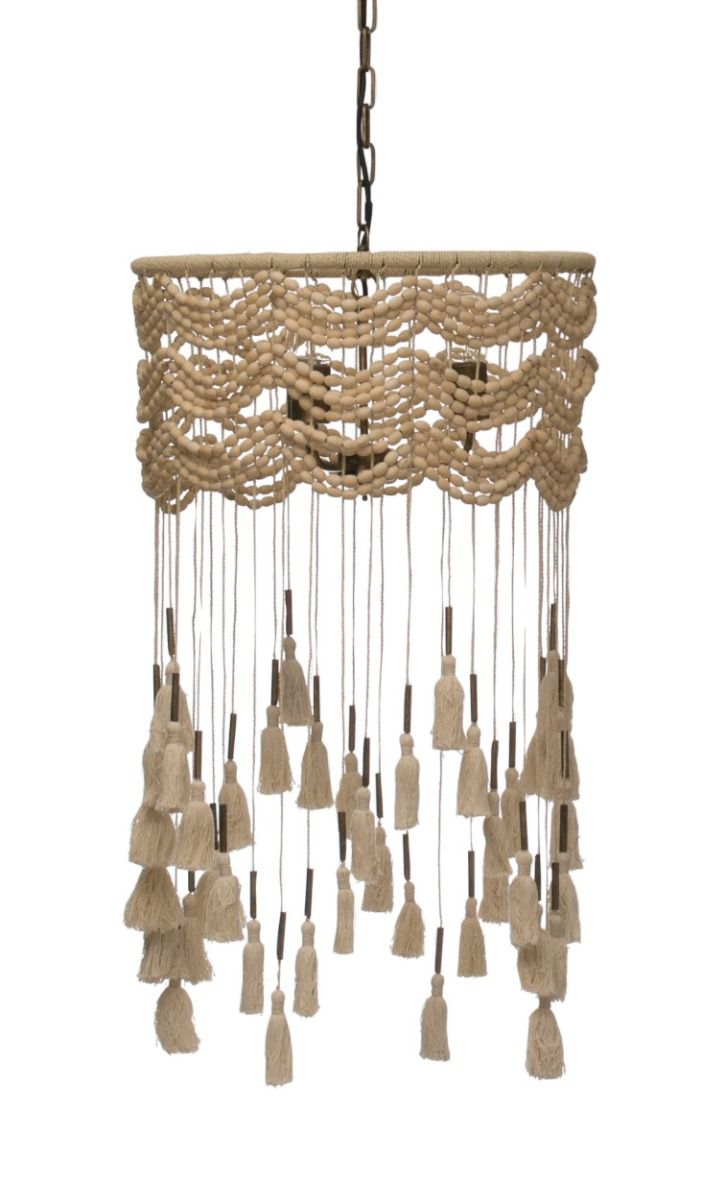 Macrame pendant chandelier with tassels
