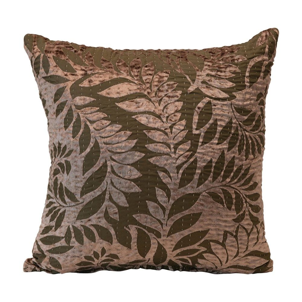 brown/taupe fern pattern pillow