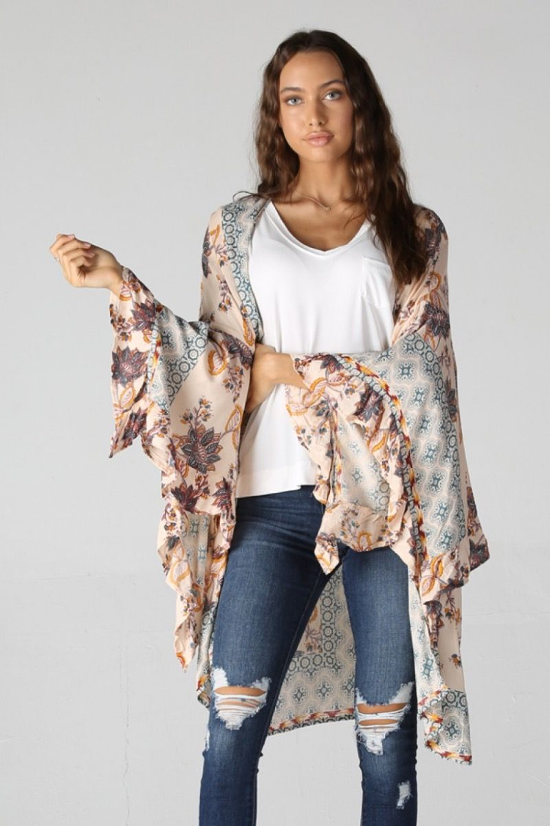 wall flower kimono with ruffled sleeves