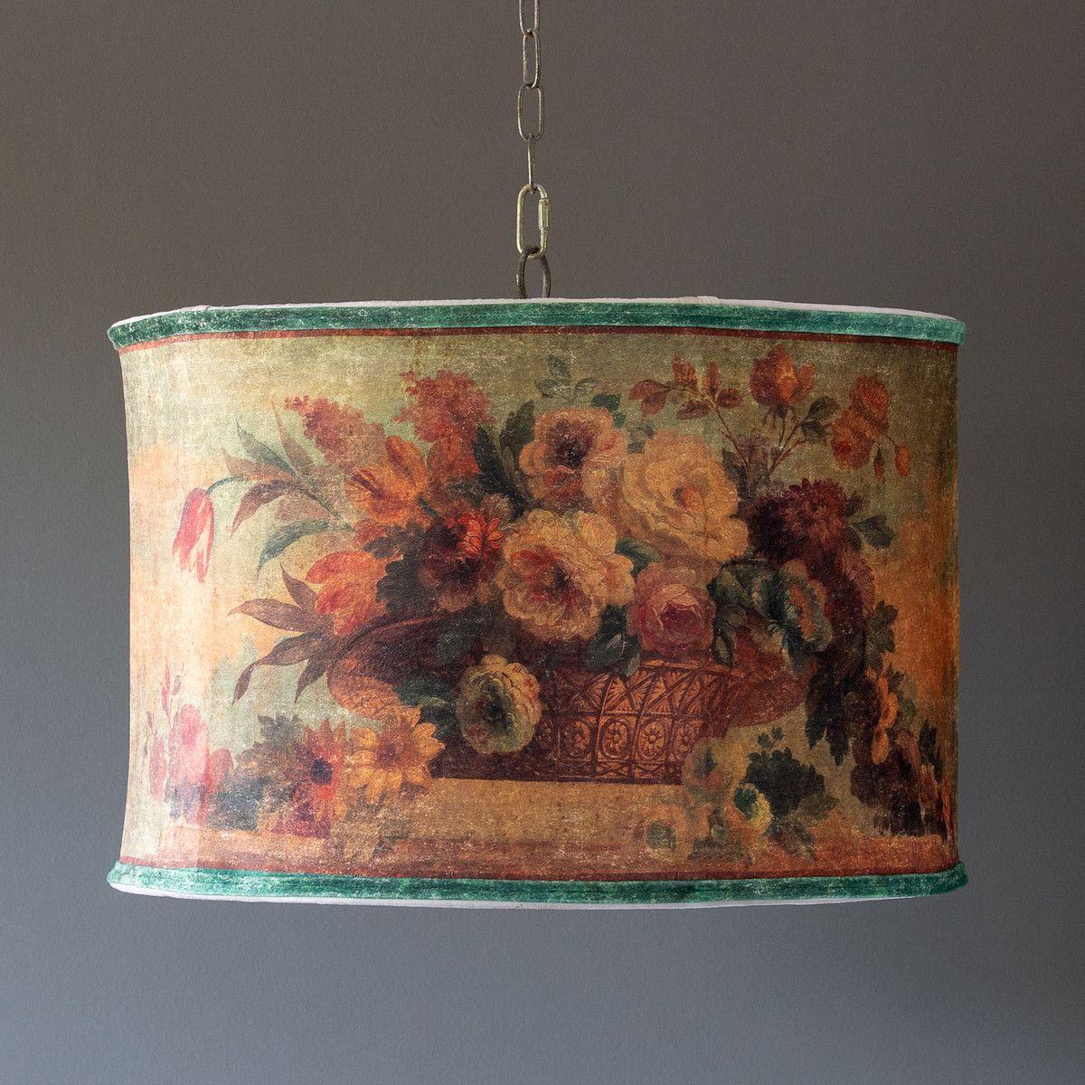 Velvet Floral Shade Pendant Light