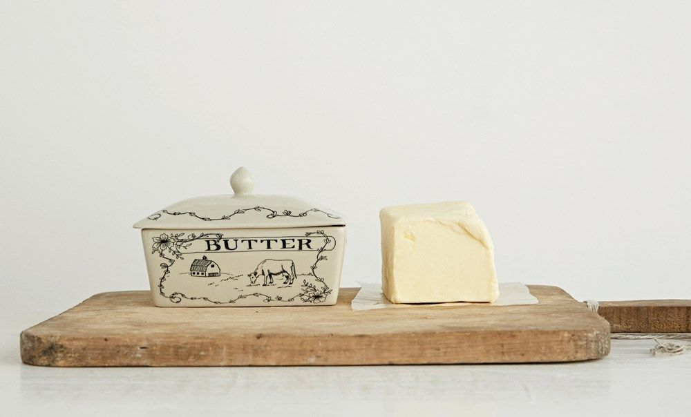 farm scene butter dish