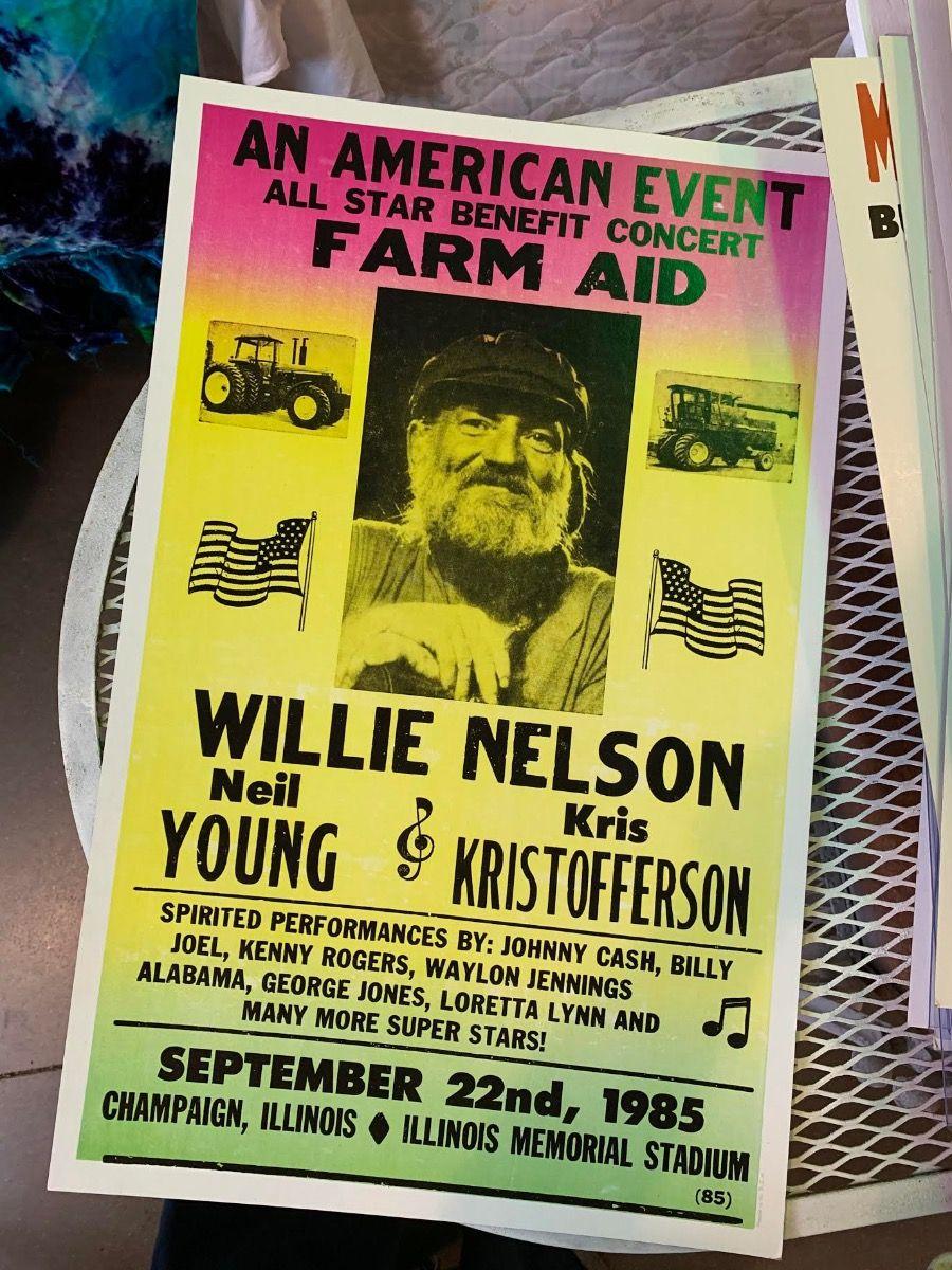willie nelson - farm aid - poster & postcard