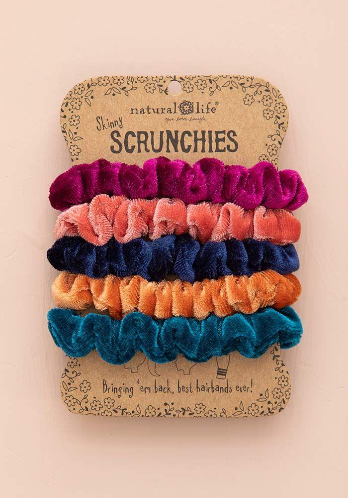 bright velvet scrunchies