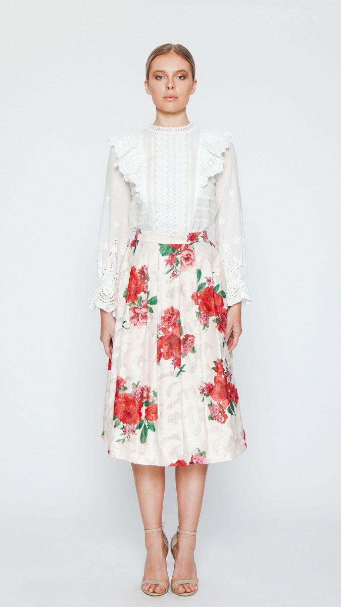 pleated skirt with red flowers