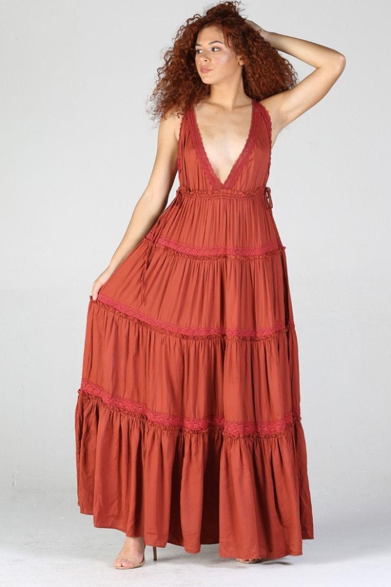brick side tie maxi dress