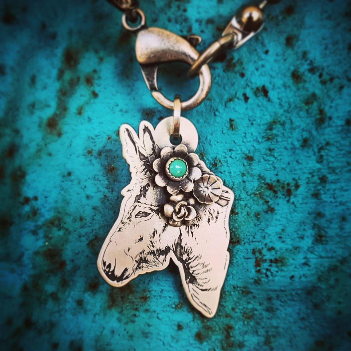 sterling donkey pendant necklace