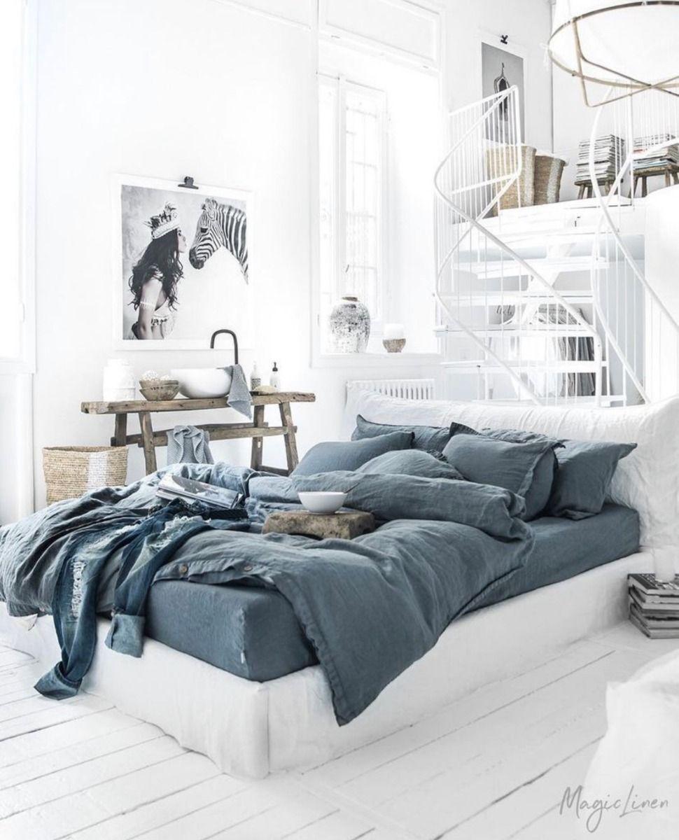 Magic Linen Gray Blue Duvet Cover