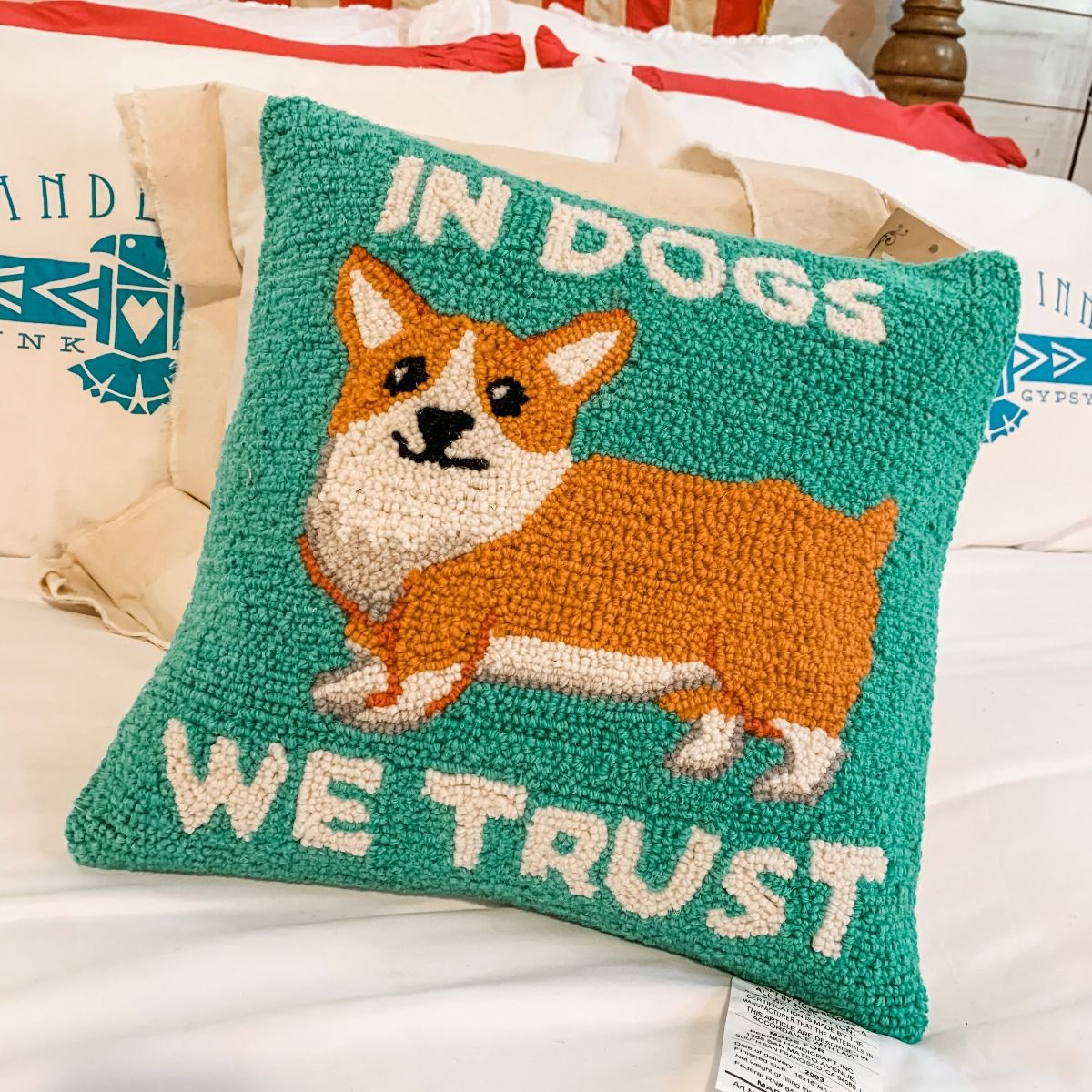 in dogs we trust hooked pillow