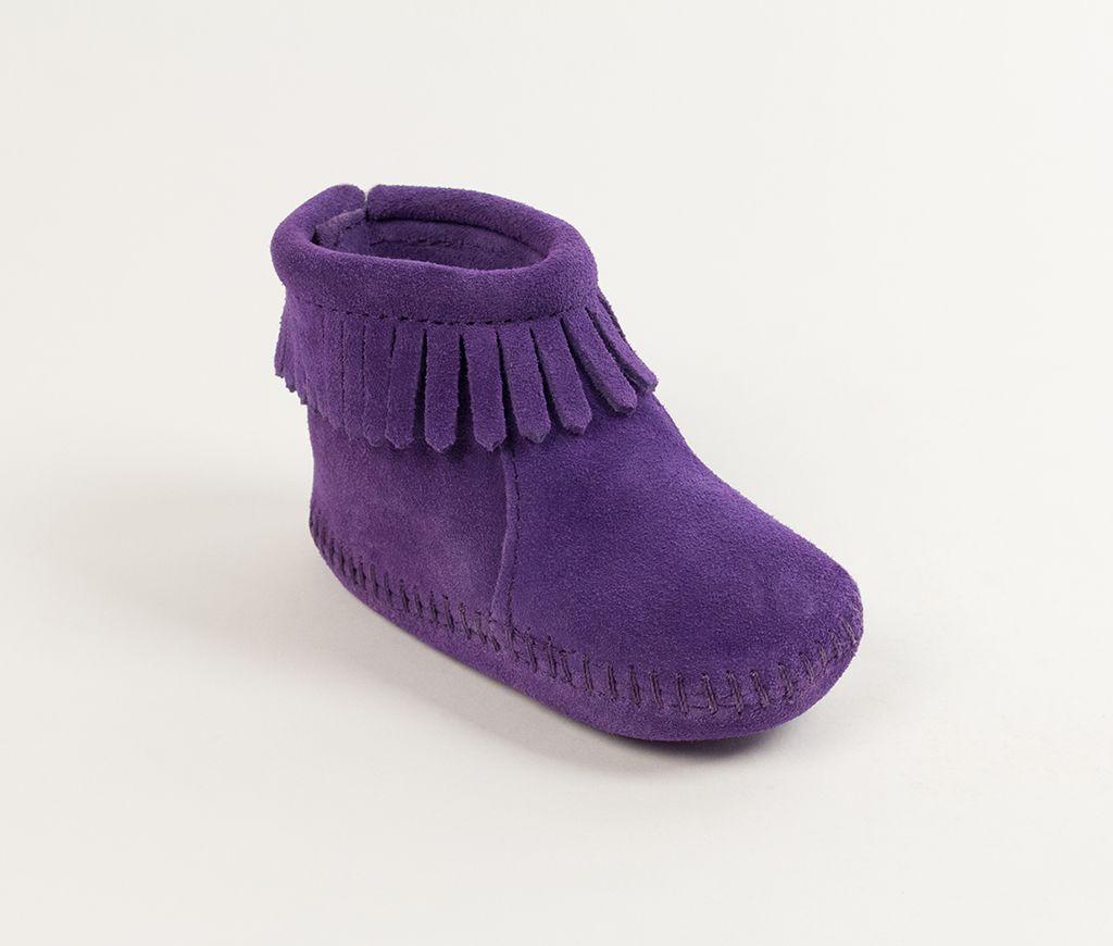 back flap infant bootie - purple