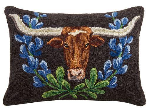 longhorn & bluebonnets pillow