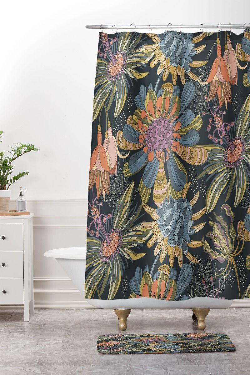 moody moody shower curtain & mat