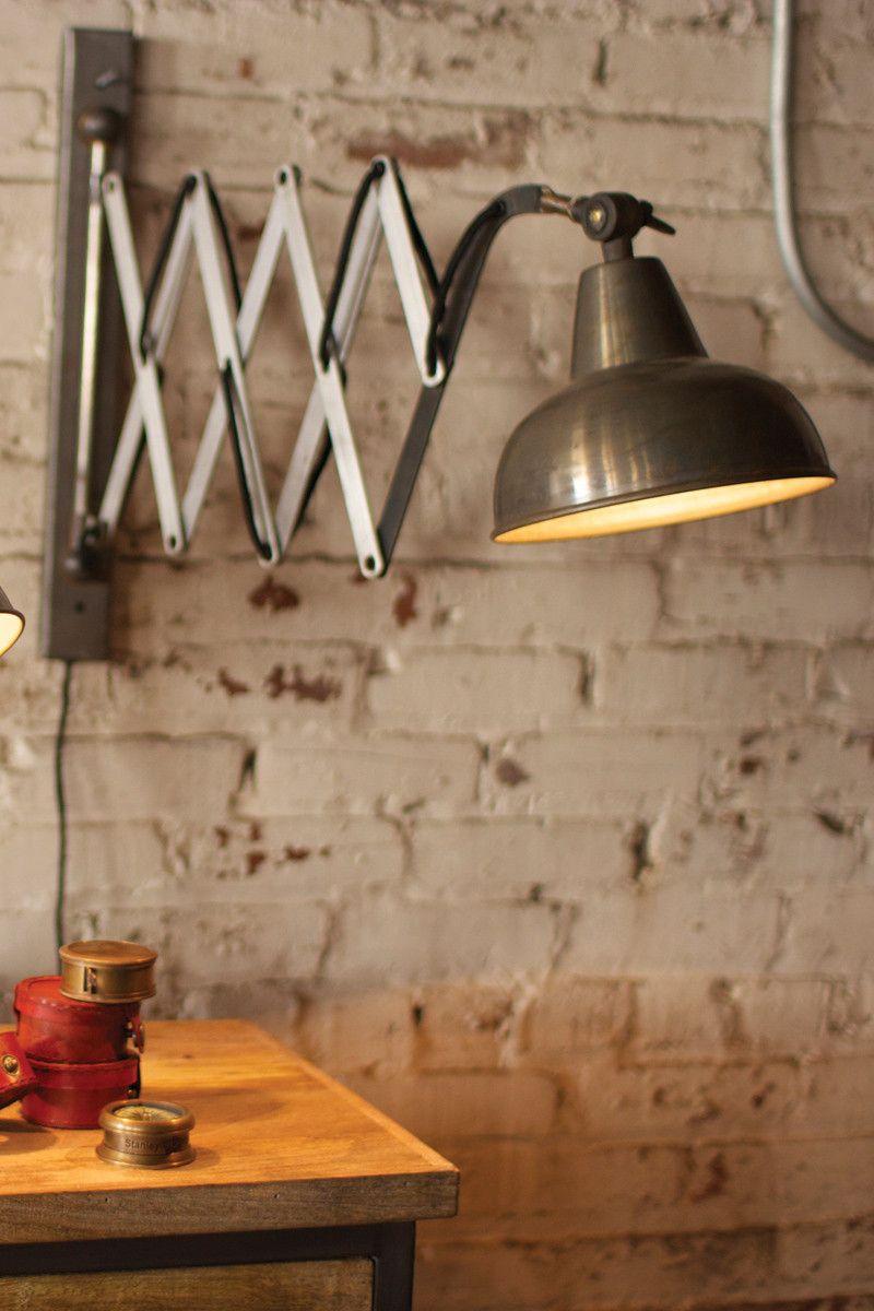 industrial scissor wall lamp