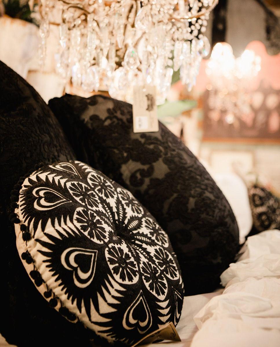 Storybook ebony embroidery cushion