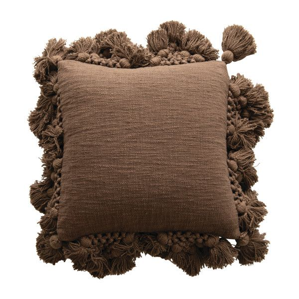 Square Crochet & Tassels Iron Color Cotton Slub Pillow