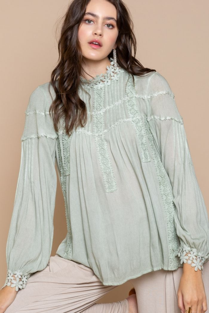 max out pleated woven top