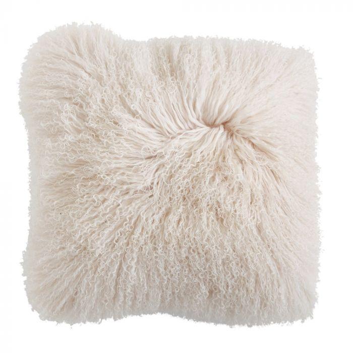 "cream 20"" Square Mongolian Lamb Fur Pillow"