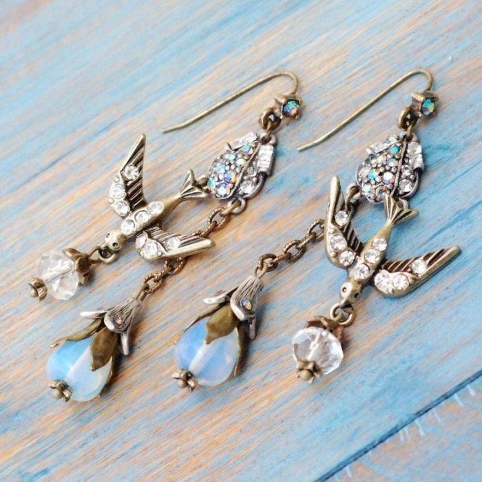 opal spirit bird earrings