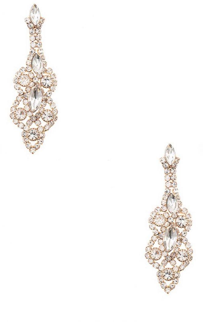 gold crystal dangle earring