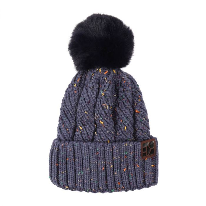 knitted pom beanie - navy