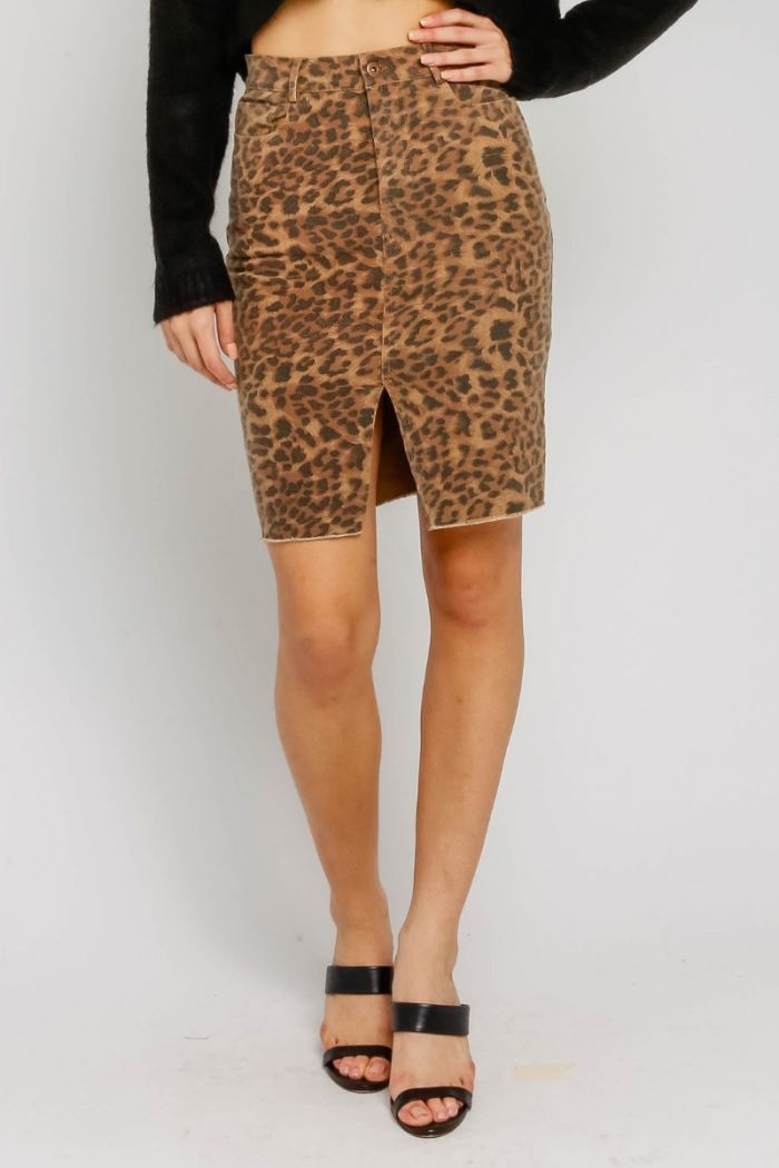 brown leopard midi skirt
