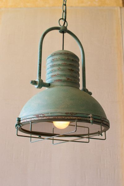 turquoise pendant light with glass and wire cage