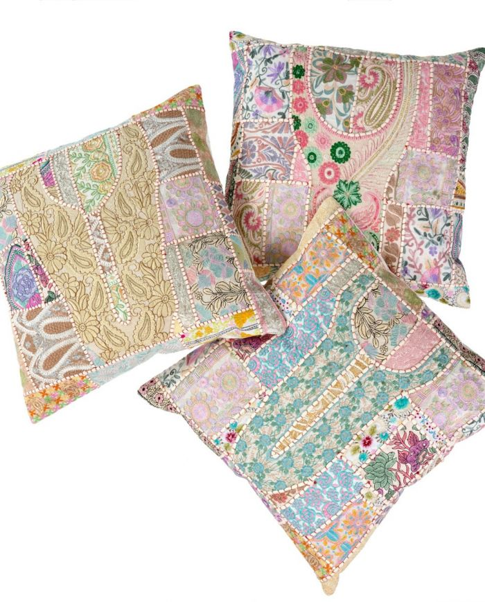 vintage boho patchwork cushion
