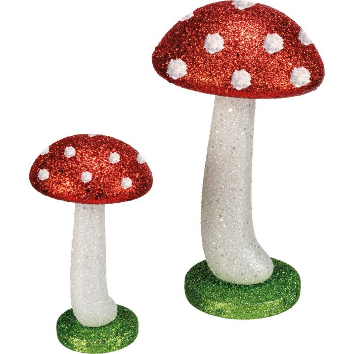 glitter mushroom figurine set