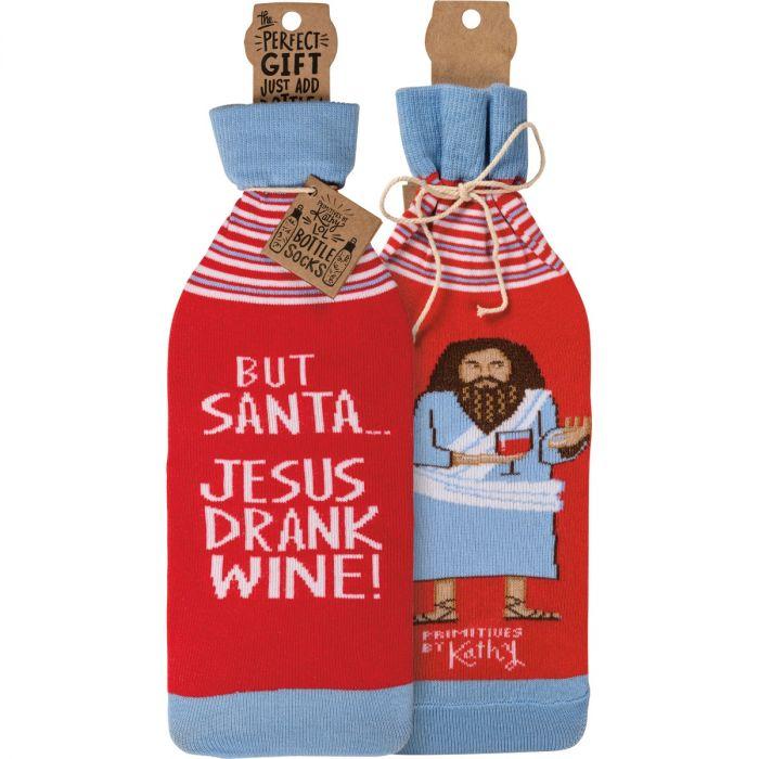 jesus drank wine bottle sock