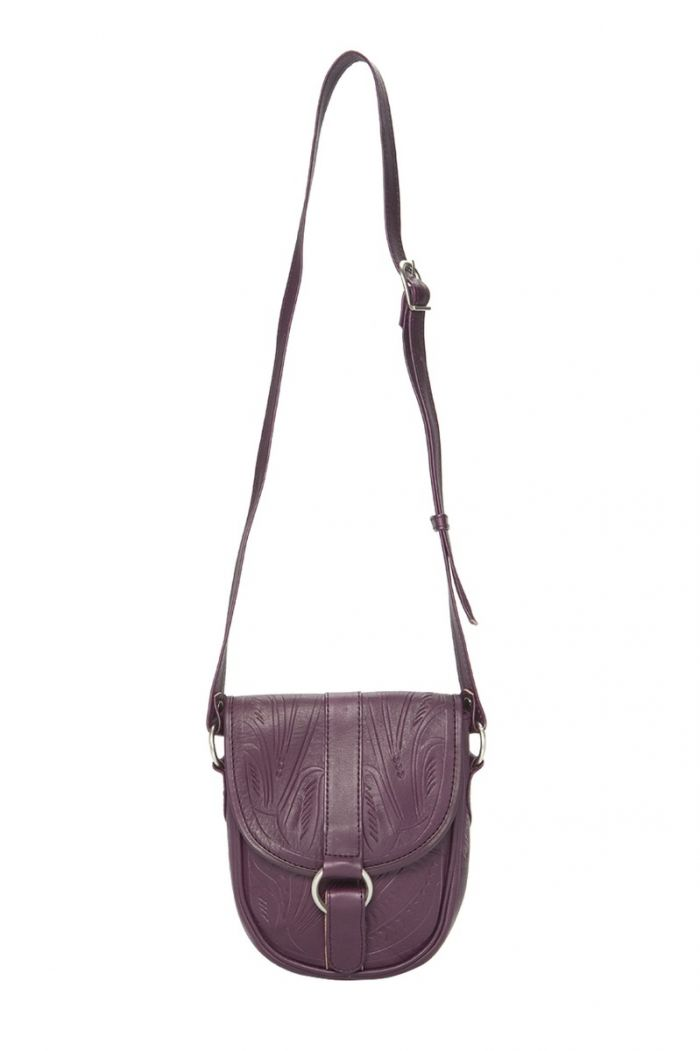 rounded tooled crossbody purse