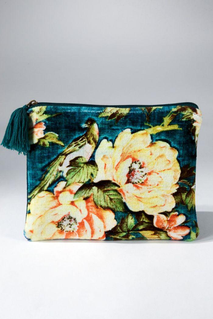 eloise velvet floral pouch