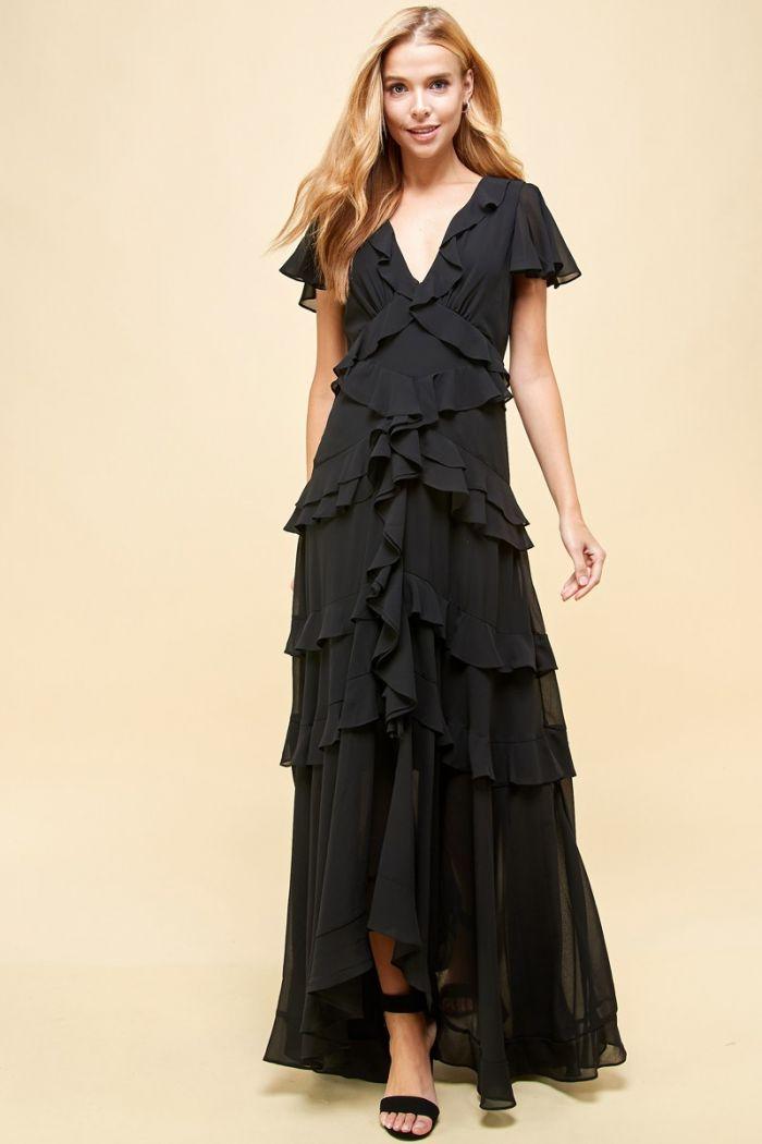 the antonia ruffle maxi dress