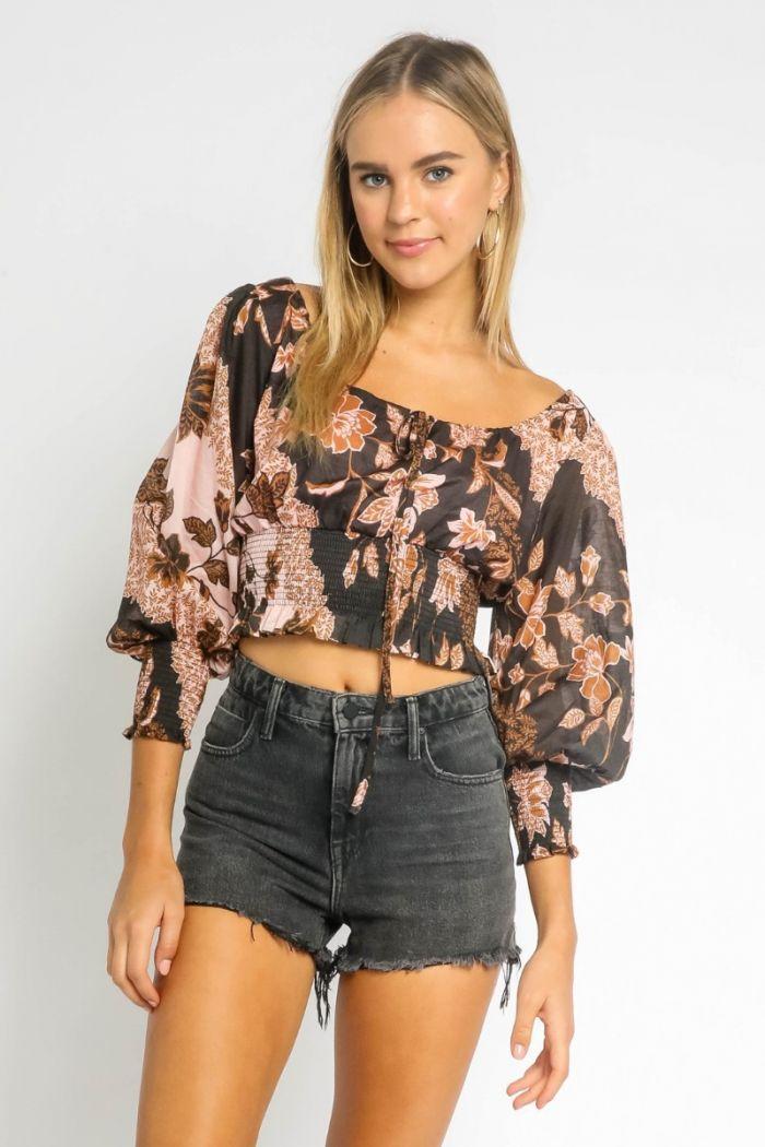 henna floral smocked blouse