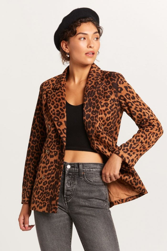 brown leopard blazer