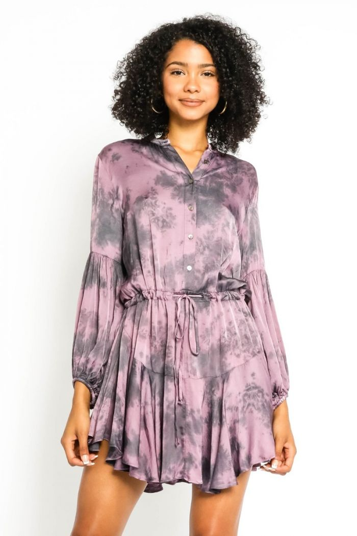 purple tie dye satin dress