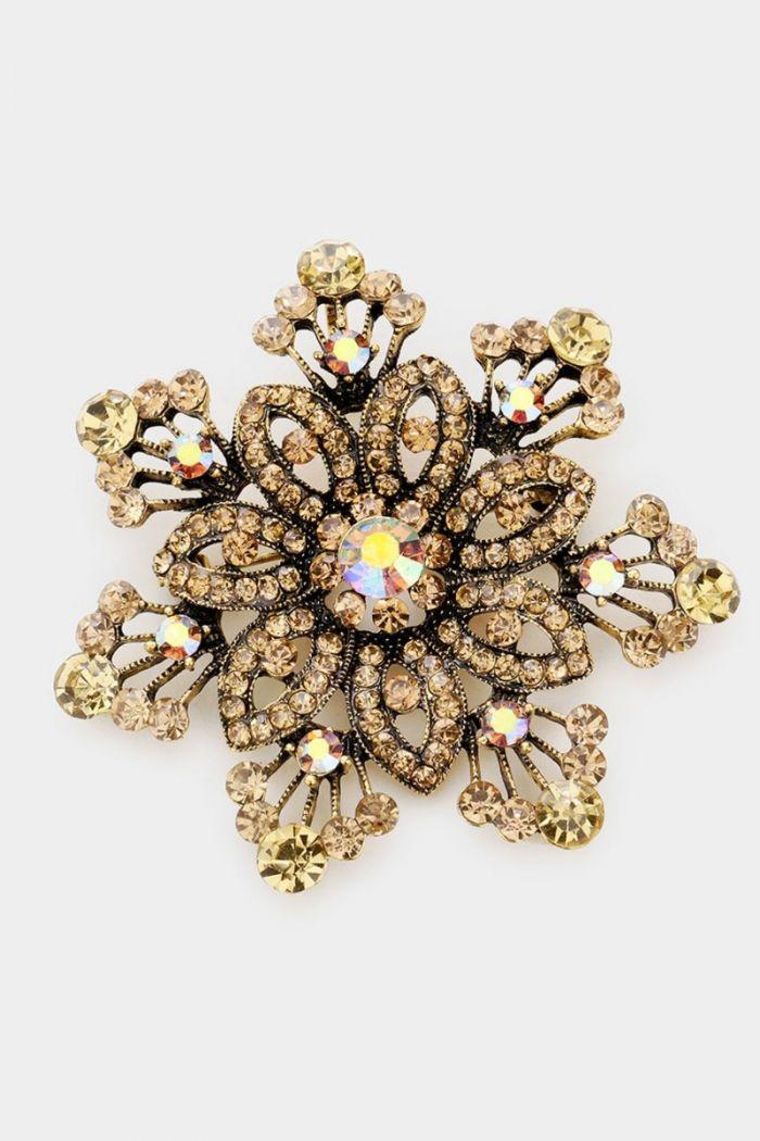 flower bubble stone brooch