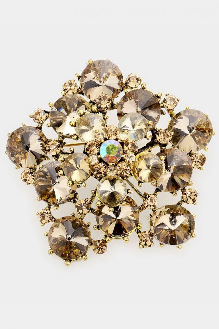 bubble stone pin brooch