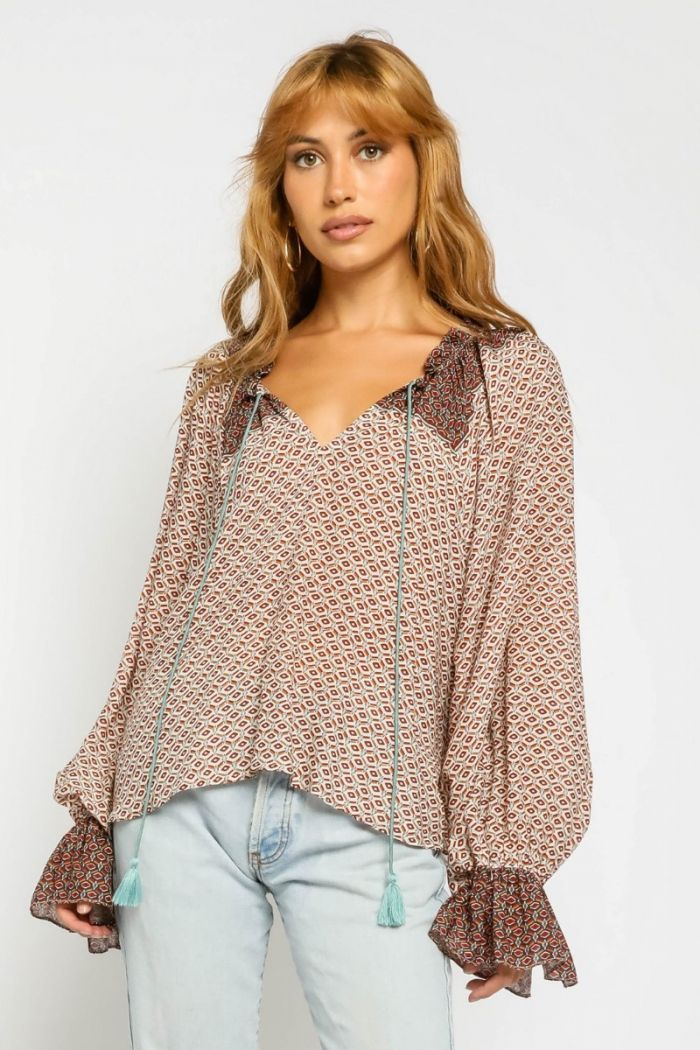 rust coin bell sleeve top