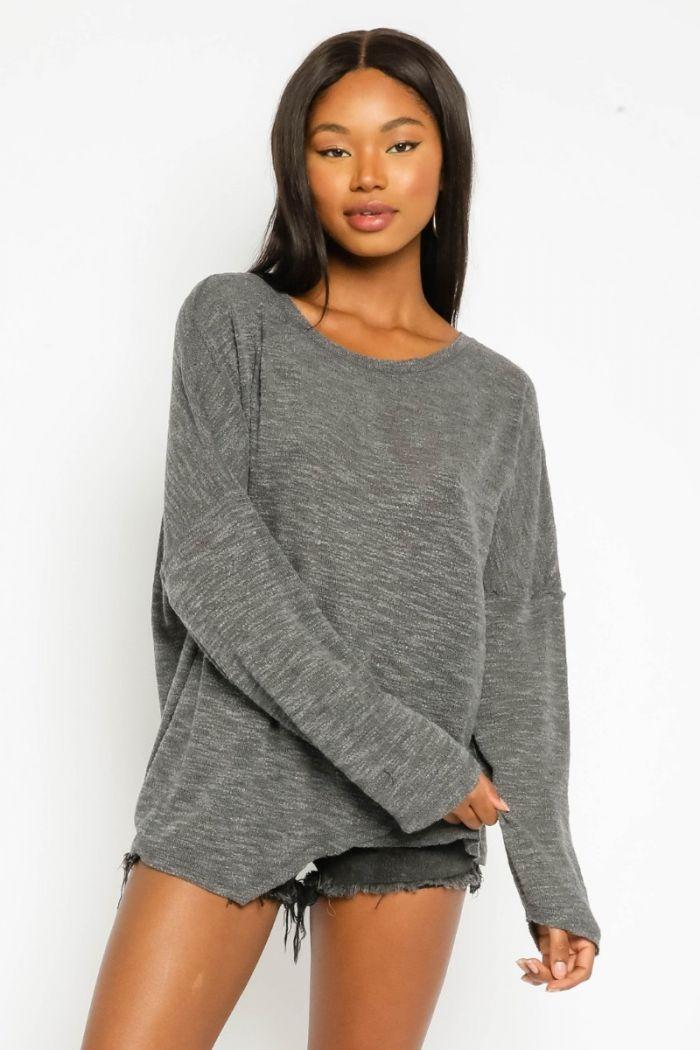 grey asymmetrical sweatshirt