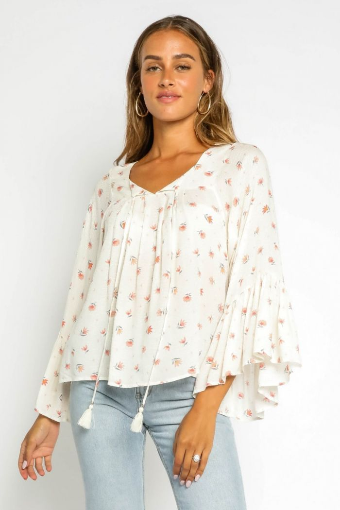 white lily bell sleeve shirt