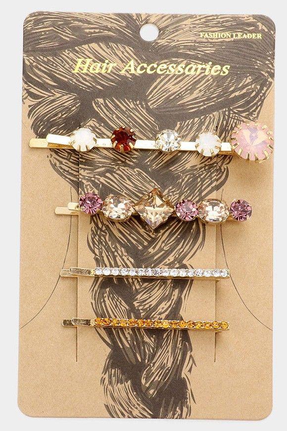 stone embellished bobby pins - set of 4