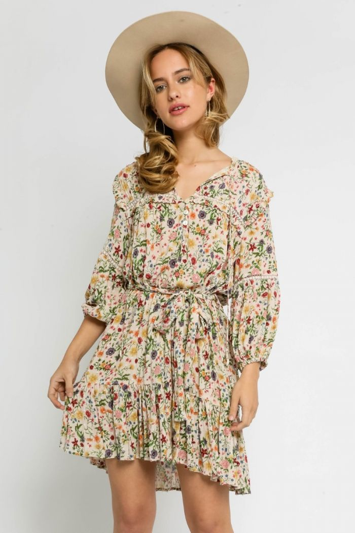 floral fields belted dress